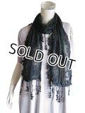 【薄手ストール】ナチュラル&フェミニン♪透ける綿刺繍チュールレースロングスカーフ ストール 2色