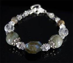 画像2: 高級感!!【天然石】上品なラブラドライト&水晶 ブレスレット