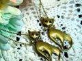かわいいネコちゃん アンティークカラーのネックレス 2カラー