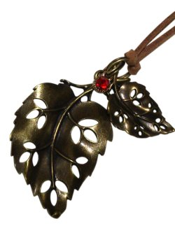 画像1: 【送料無料】【レザーネックレス】◆flower storm◆大人向け♪透かしダブルリーフ 木の葉とガラスストーンの革ひもネックレス☆アンティークゴールド 2色