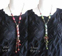画像2: 【日本製】とんぼ玉&ガラスビーズのアンティーク調ロングネックレス 2色 (母の日 ギフト)