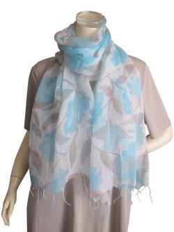 画像1: 【薄手ストール】織柄が美しいシルク・コットン素材の大花柄ストール 2色(紫外線対策 UV対策 日除け 冷房対策)