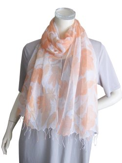 画像2: 【薄手ストール】織柄が美しいシルク・コットン素材の大花柄ストール 2色(紫外線対策 UV対策 日除け 冷房対策)