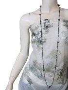 他の写真1: 【ロングネックレス】アジアンテイスト シンプルクール ウッドビーズネックレス ブラック×シルバー