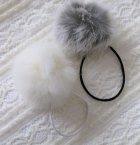 他の写真3: 【送料無料】ふわふわラビットファーヘアゴム 2色セット(ホワイト/グレー)(ヘアアクセサリー  ヘアポニー 髪飾り)
