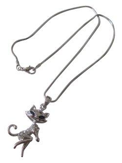 画像1: 【送料無料】おすましレディ猫ちゃんチェーンネックレス(革紐ネックレス メンズ/レディース)