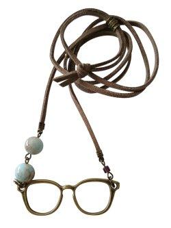 画像1: 【送料無料】【レザーネックレス】◆flower storm◆アンティークデザイン眼鏡とビーズの革ひもロングネックレス 2色(アクセサリー メンズ/レディース)